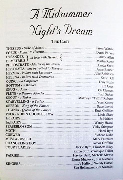 A midsummer nights dream programme