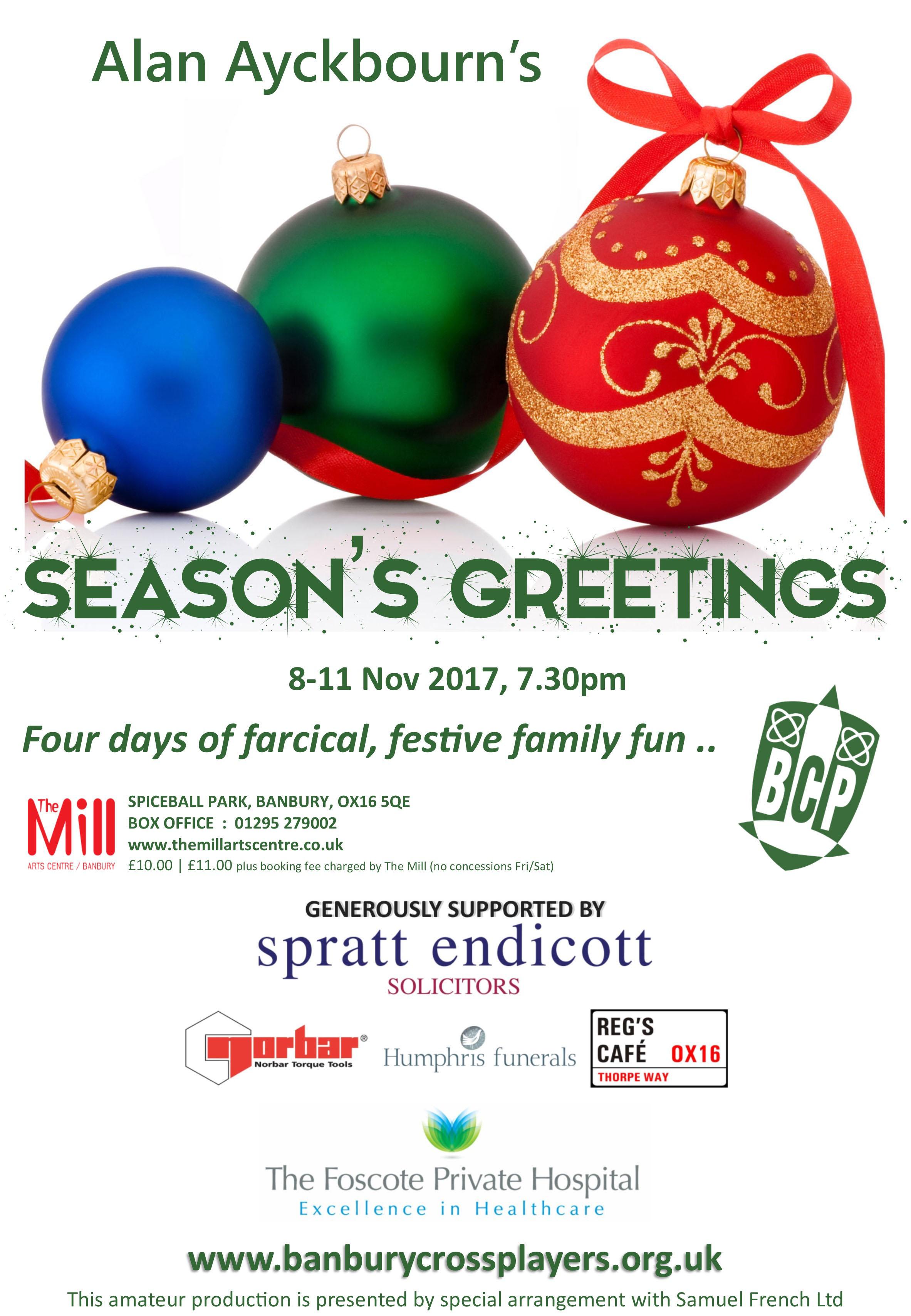 Seasons greetings banbury cross players seasons greetings a4 poster m4hsunfo