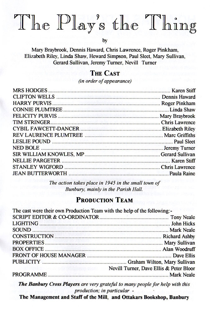 The Play's the Thing cast
