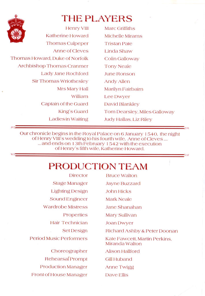 Katherine Howard Programme 2